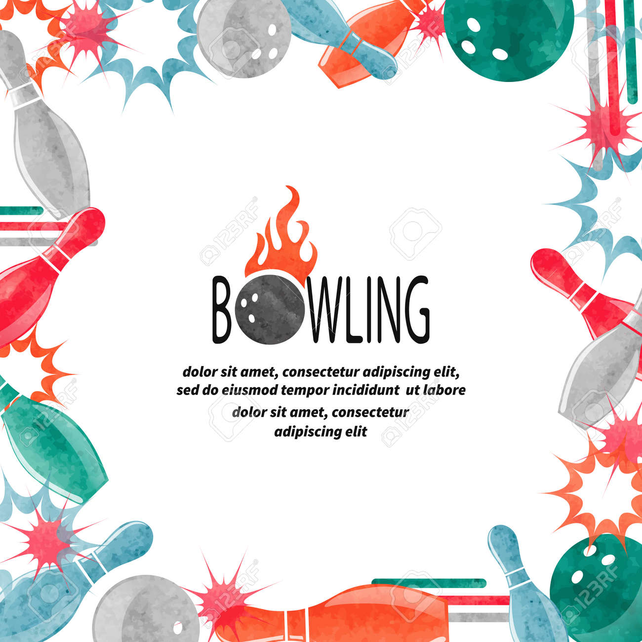 Bowling Square Border Isolated On White For Your Design. Frame ...