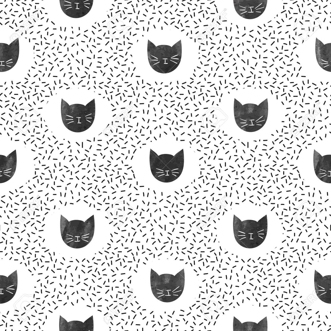 Banque d\u0027images , Modèle de mode transparente avec des chats noirs mignons.  Fond de points de vecteur.