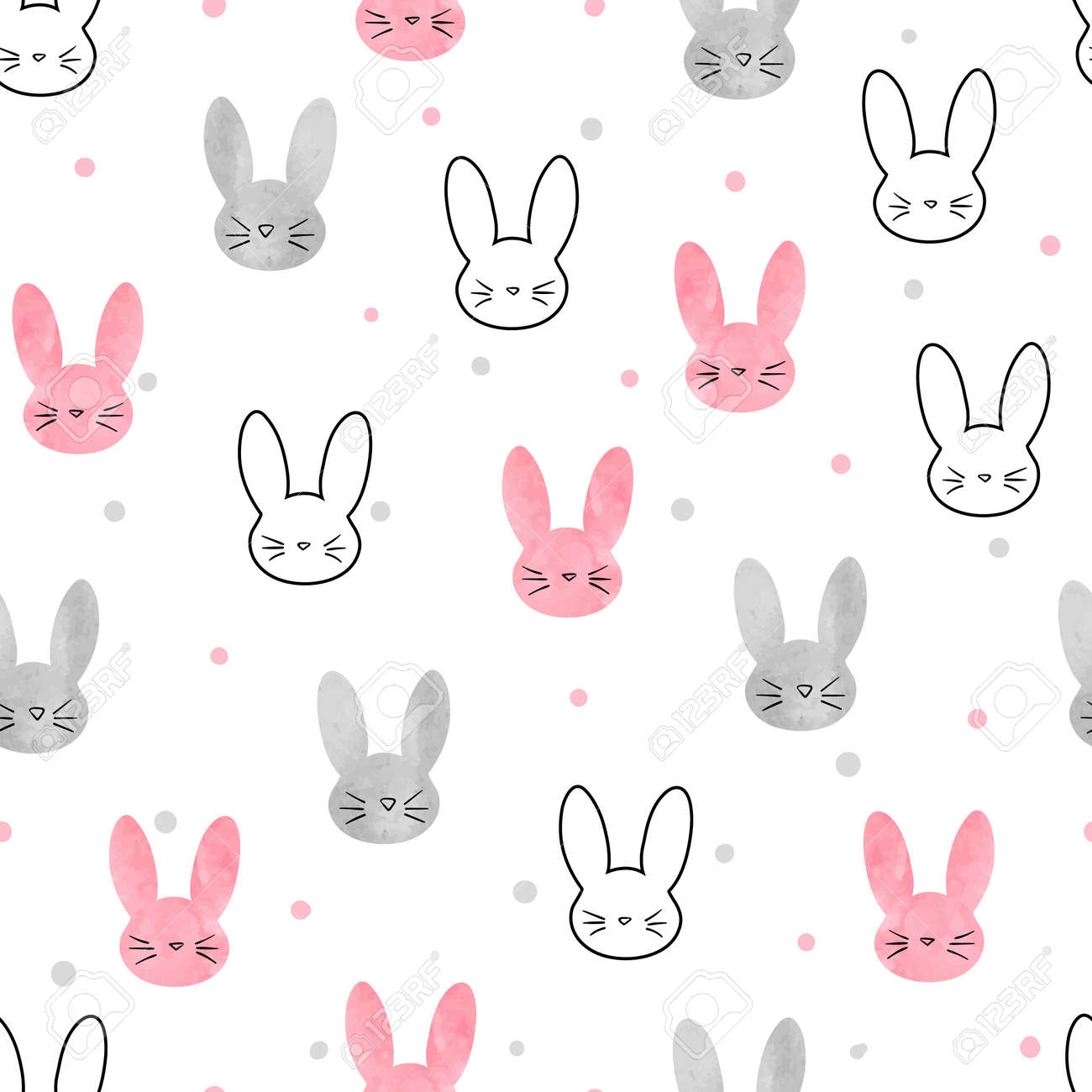 Patrón De Conejito Lindo. Fondo De Vector Transparente Con Conejos ...
