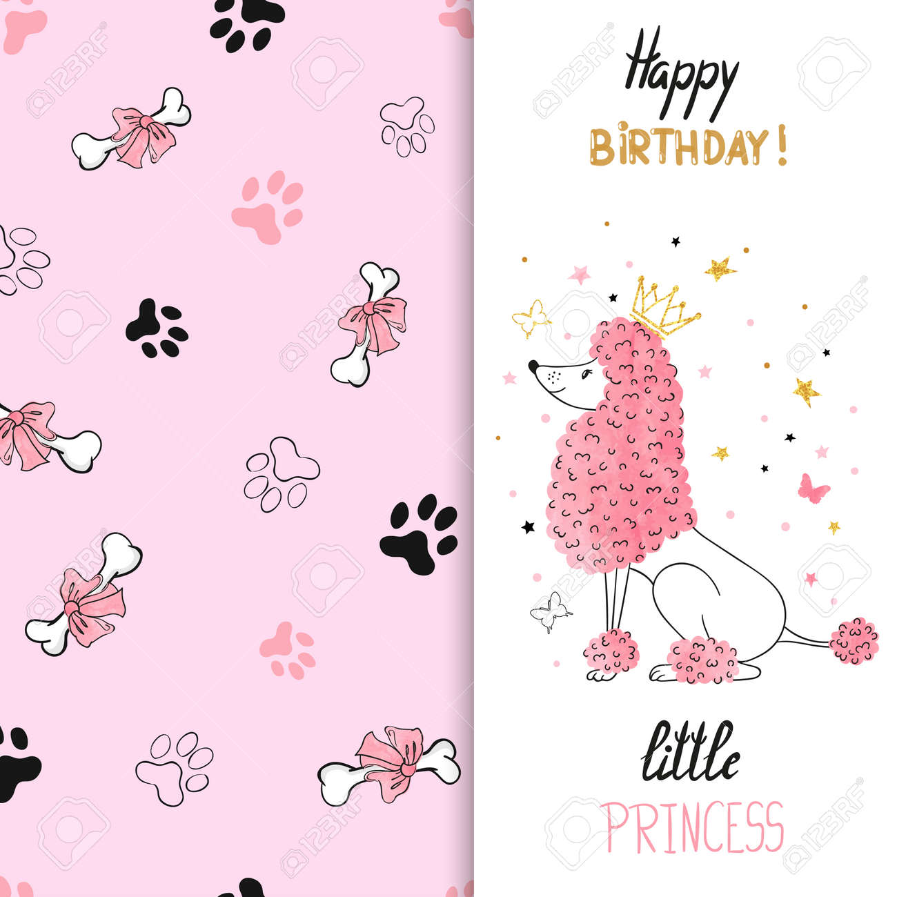 Watercolor birthday greeting card design with princess poodle watercolor birthday greeting card design with princess poodle dog vector illustration for kids stock kristyandbryce Images