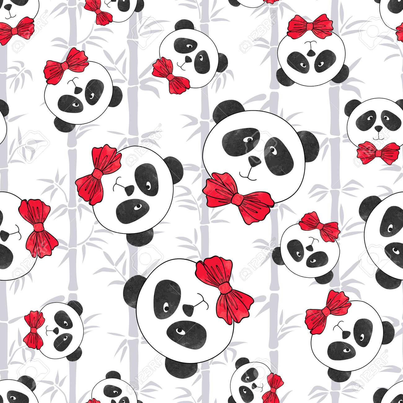 Patrón Sin Costuras Con Panda Y Bambú. Ilustración Vectorial Con ...