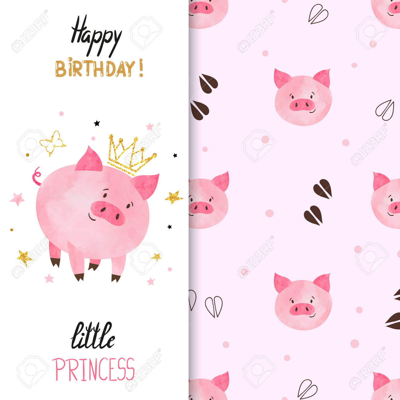 Birthday greeting card design for little girl vector illustration birthday greeting card design for little girl vector illustration of cute little princess pig kristyandbryce Images