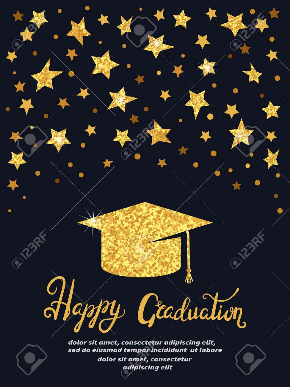 Fiesta De Graduación Plantilla De Vector De Tarjeta De Invitación En Colores Negro Y Dorado