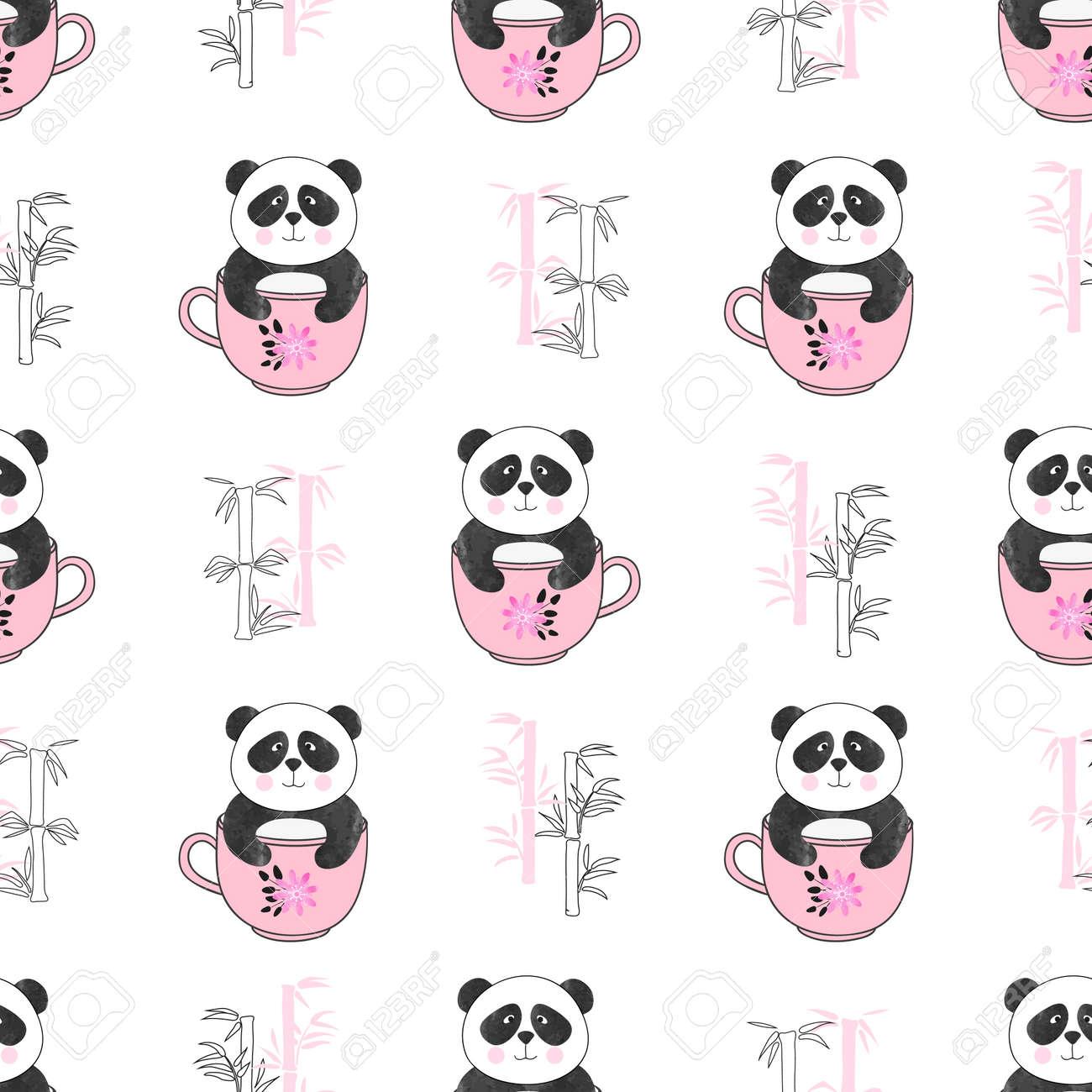 Patrón De Osos Panda Lindo Sin Costuras. Fondo De Vector Para Diseño ...