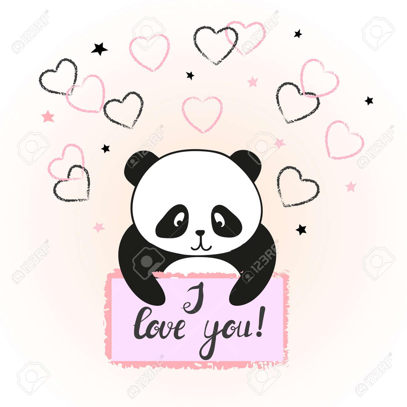 かわいい漫画パンダ恋のベクトル イラストバレンタイン カードの