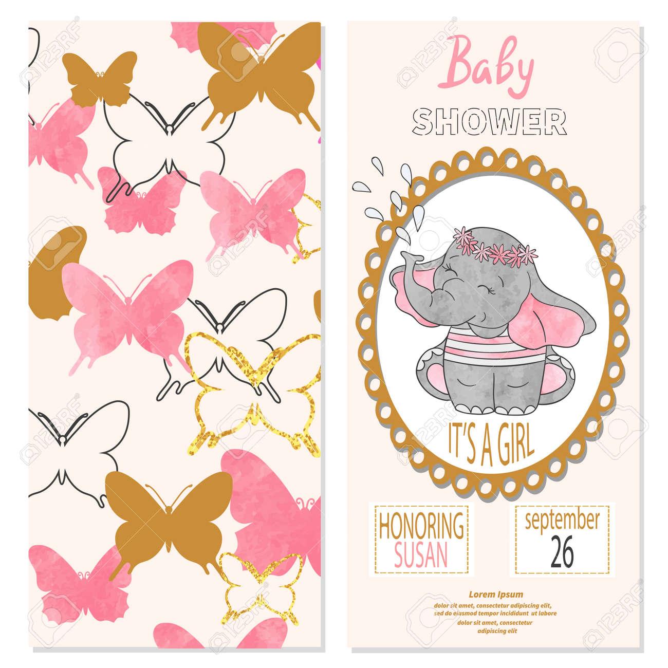 Baby Shower Nina Diseno De Tarjeta De Invitacion De Vector Con
