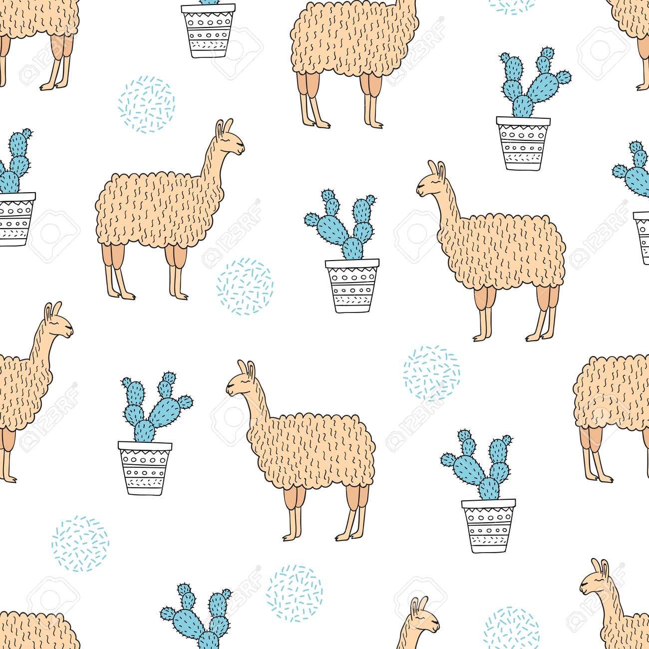 Patrón De Lamas Y Cactus Sin Costura. Fondo De Vector. Ilustraciones ...