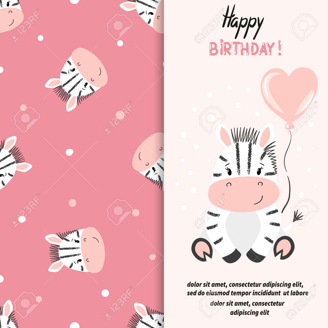 Happy Birthday Greeting Card With Cute Little Zebra Vector