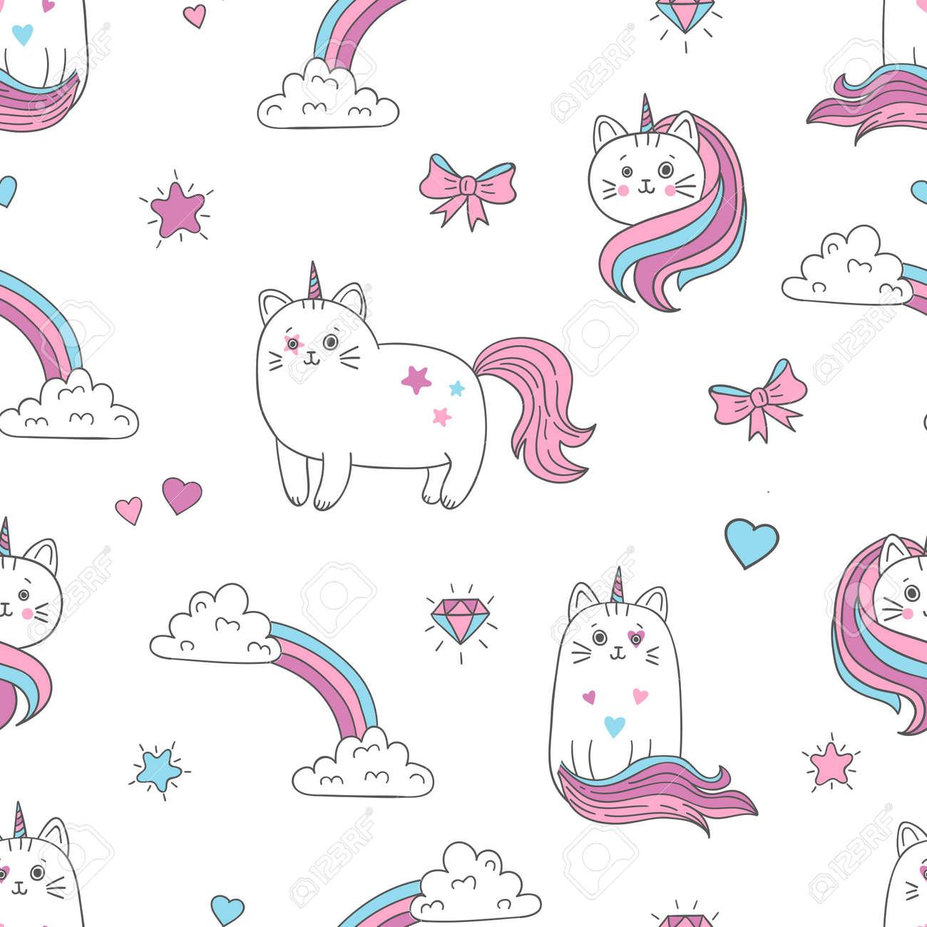 Cute Gatos Unicornios De Patrones Sin Fisuras. Fondo De Vector Para ...