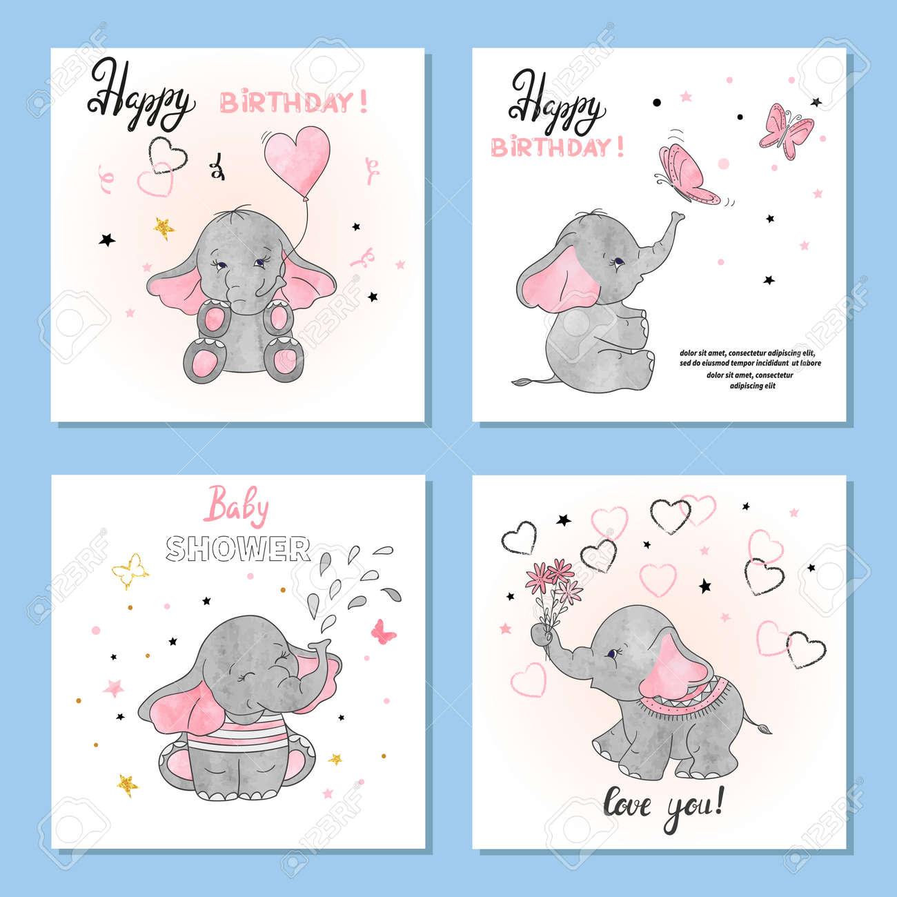 Cute Elephants Vector Illustrations Set Of Birthday Greeting