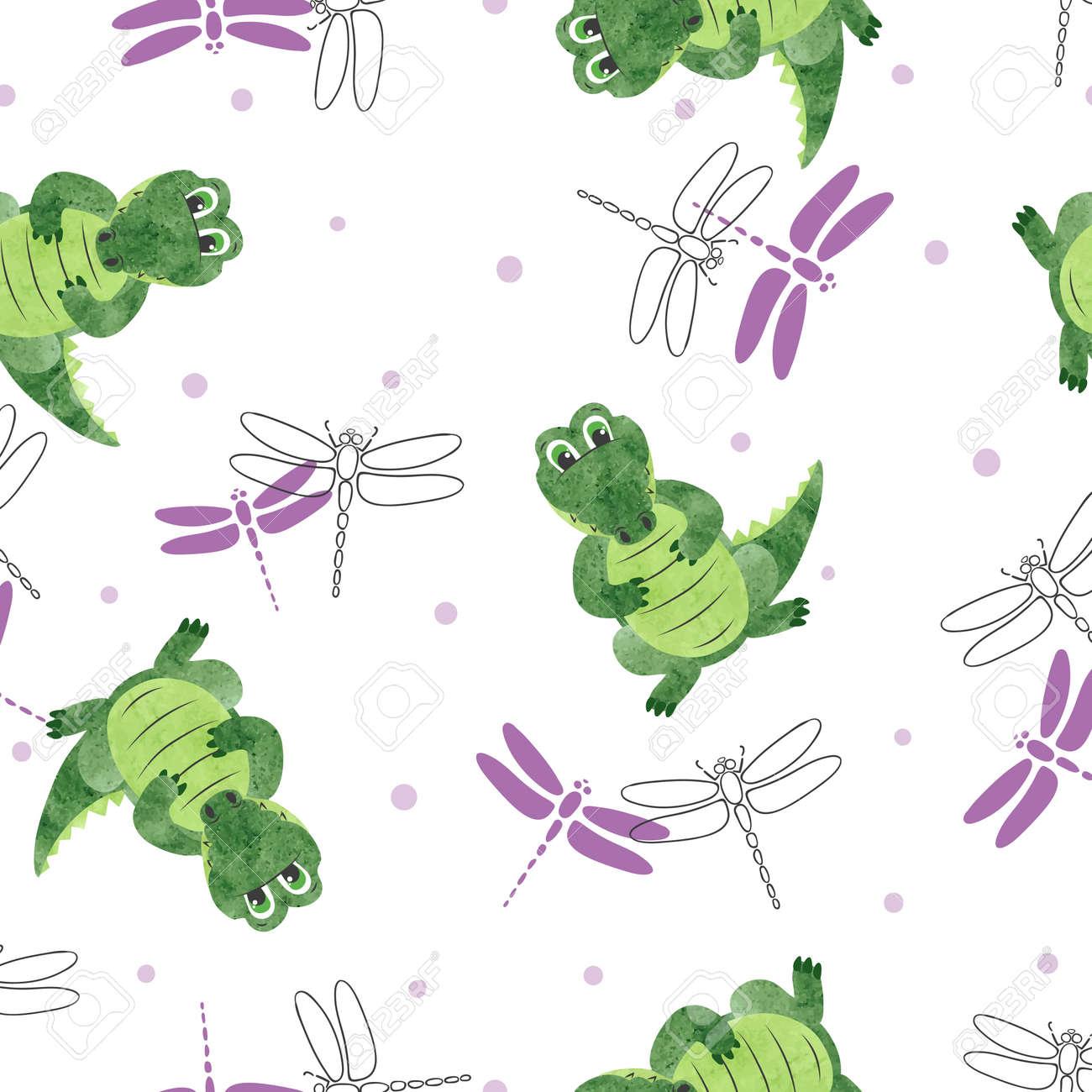 Patrones De Cocodrilos De Dibujos Animados Sin Fisuras. Fondo De ...