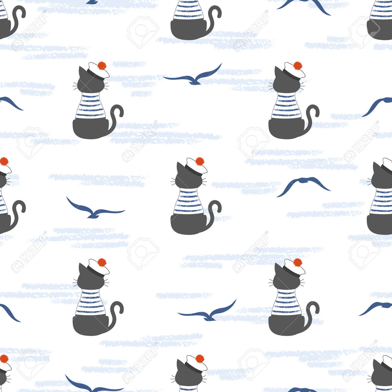 Seamless Marine Pattern With Cartoon Cat Sailor And Seagulls
