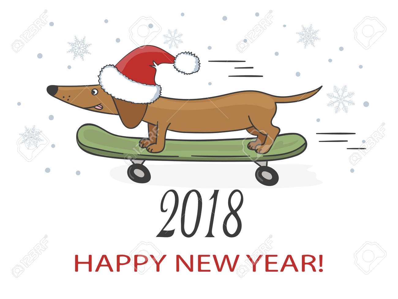 happy new year 2018 vector illustration with cute dachshund dog on skateboard stock vector