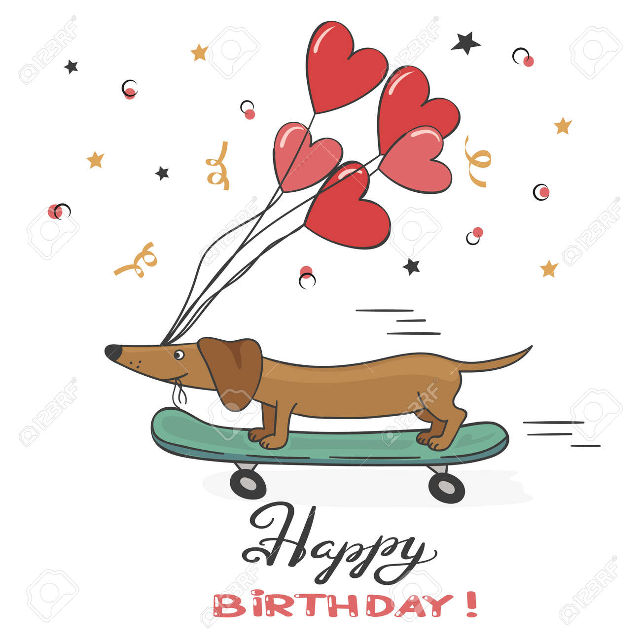 Greeting Card With Cute Dachshund Dog And Balloons Happy Birthday