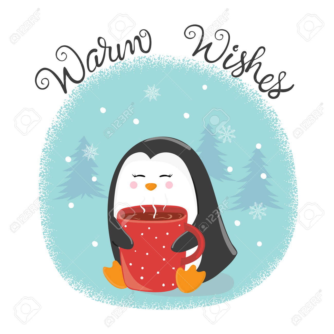 Merry christmas card with cute penguin and cup of hot tea happy merry christmas card with cute penguin and cup of hot tea happy new year vector m4hsunfo