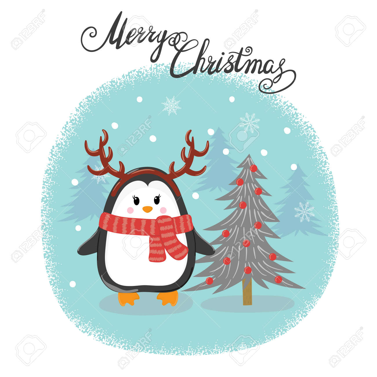 merry christmas card with cute penguin and fir tree happy new year vector illustration