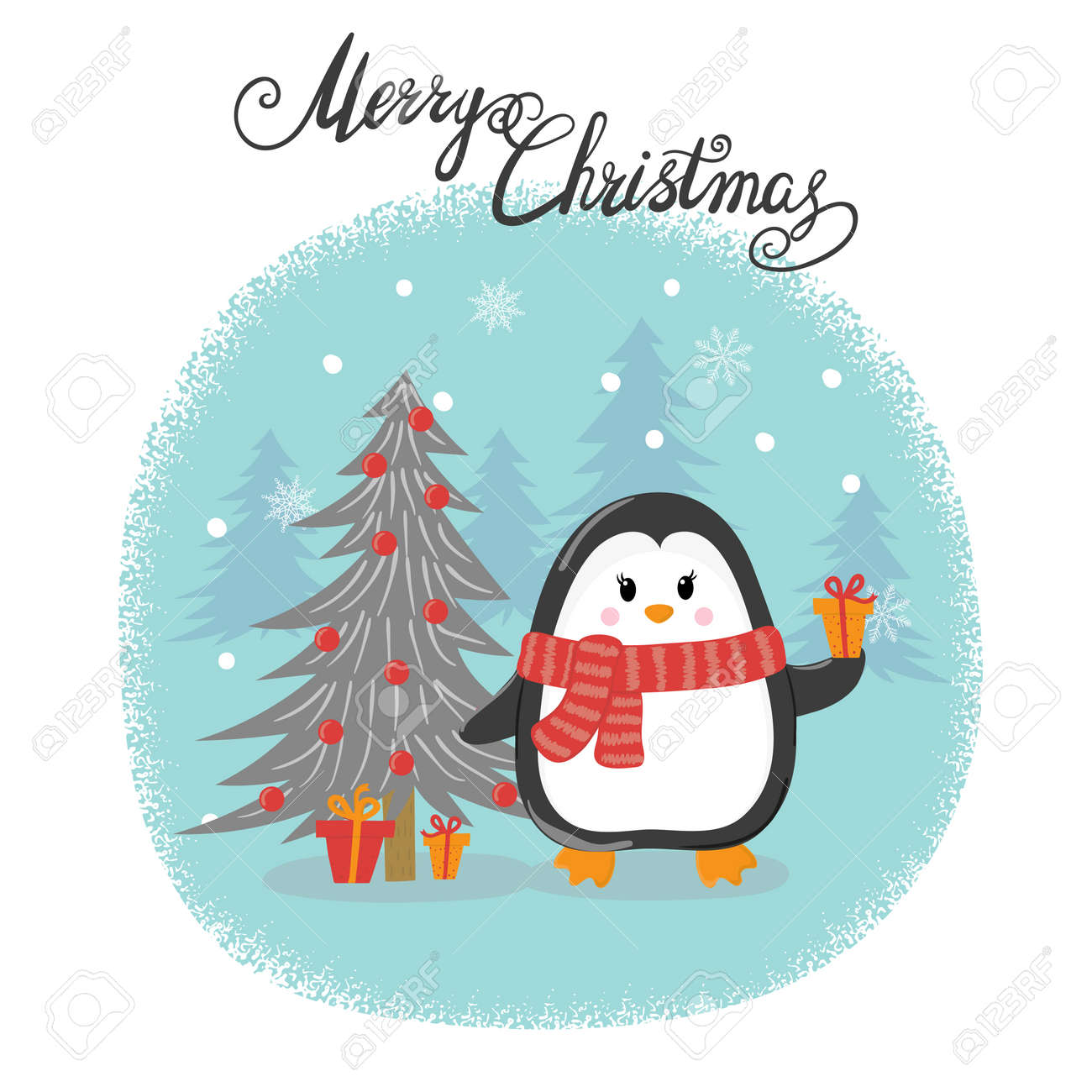 merry christmas card with cute cartoon penguin happy new year vector illustration for greeting cards