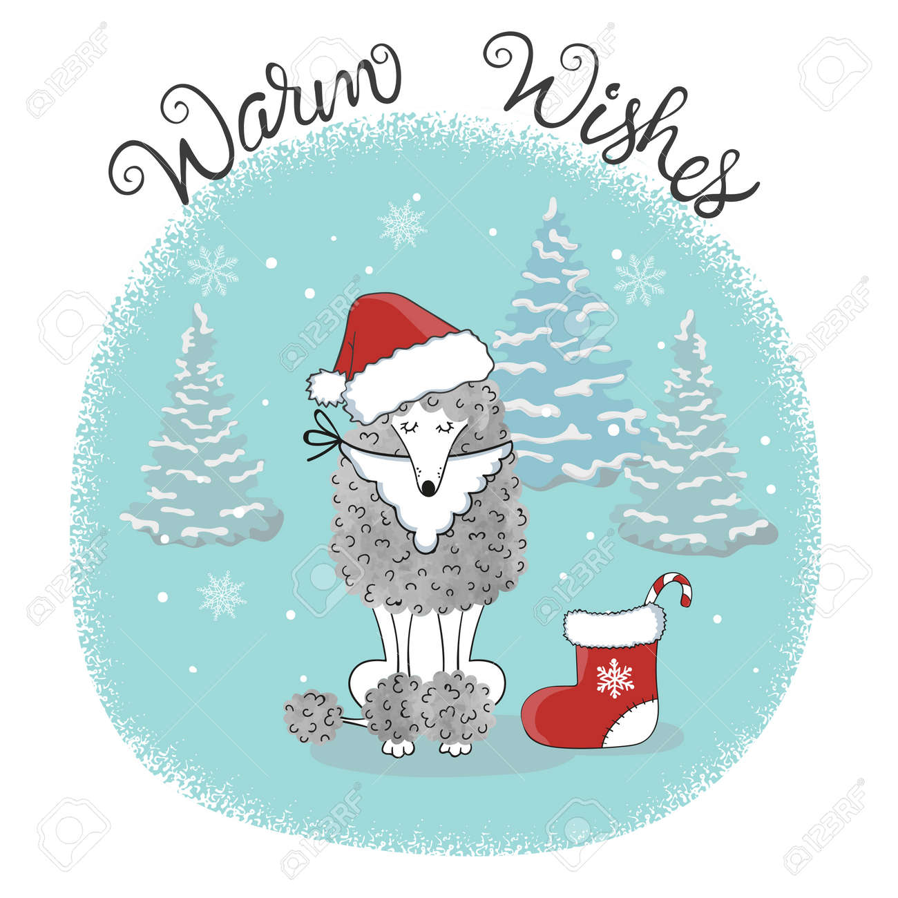 Christmas Card Template With Cute Poodle Dog Stock Vector   85362878