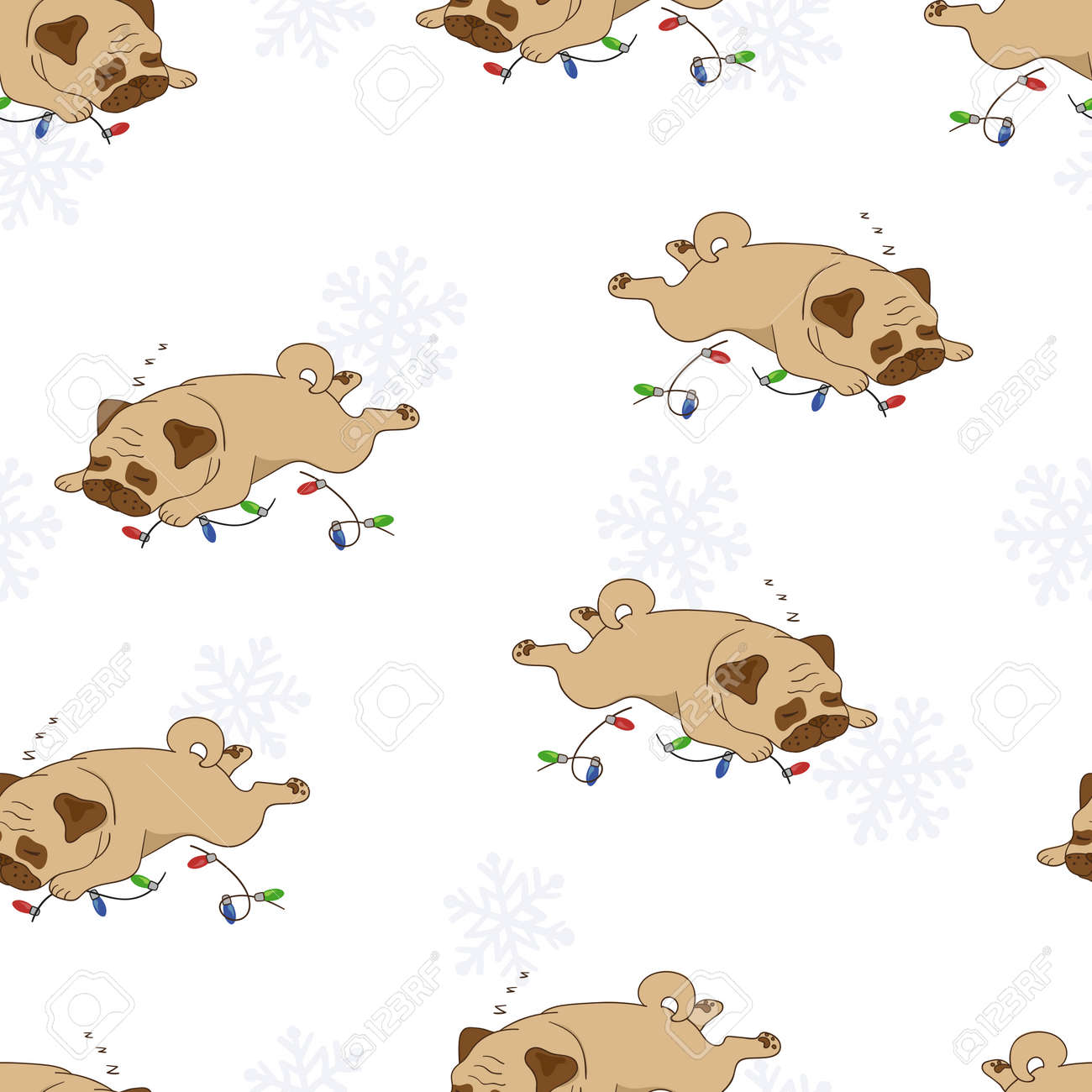 Seamless Sleeping Pugs And Christmas Lights Pattern Vector Holiday Background With Cute Dogs Stock