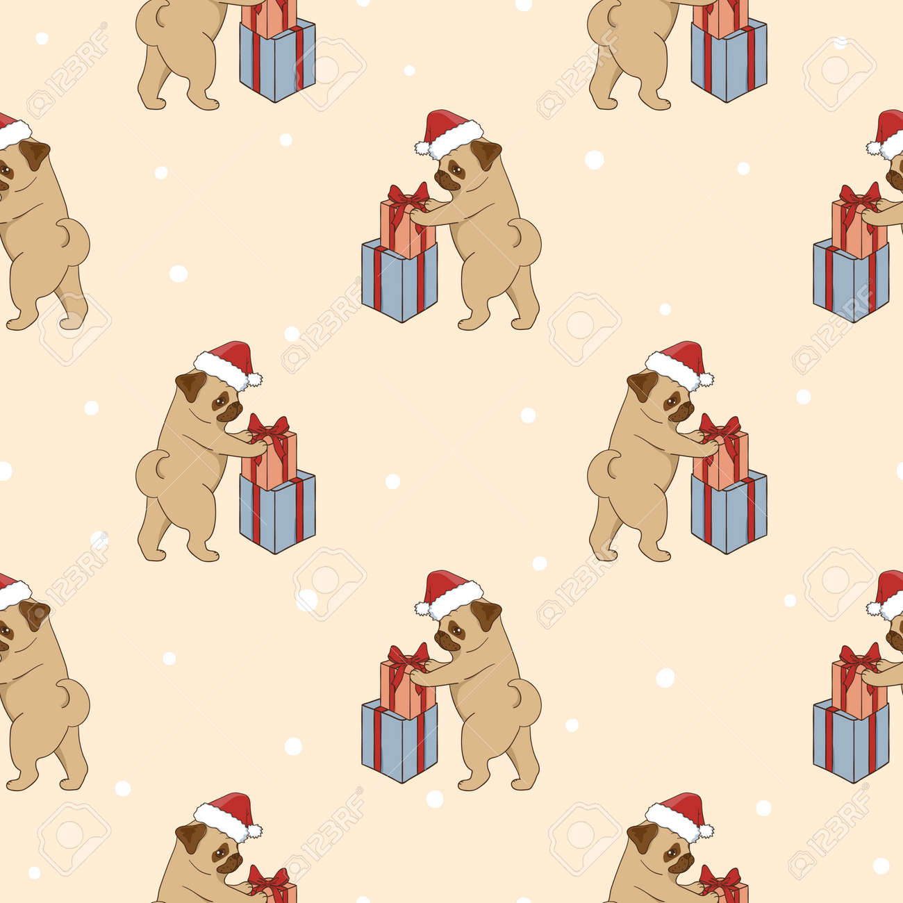 Christmas pattern with cute pugs and gifts. Vector holiday background with cartoon dogs. Stock