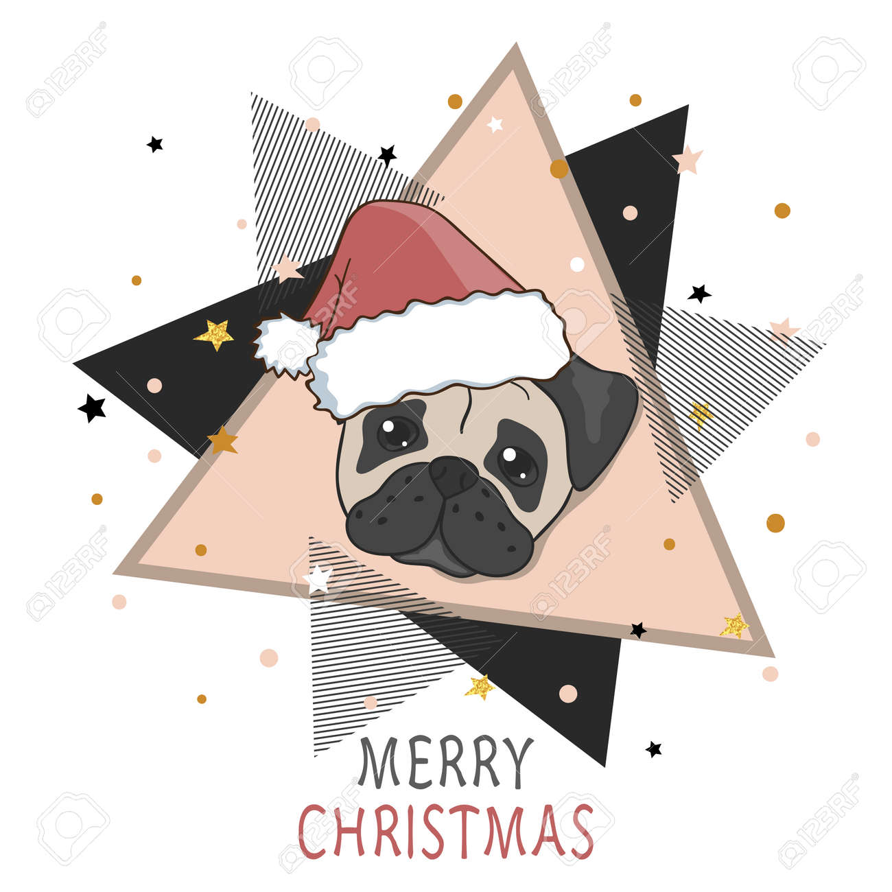 Pug Christmas Cards.Christmas Card With Cute Pug In Santa Hat Vector Holiday Illustration