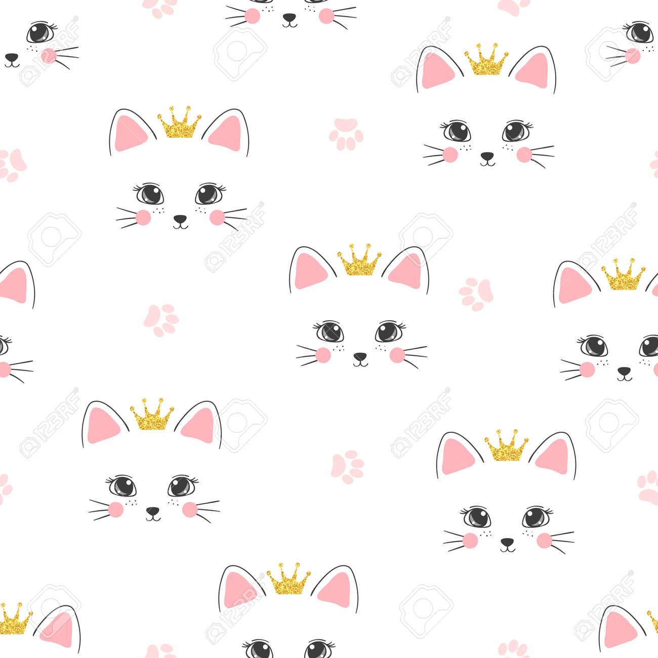 Patrón De Princesa De Gato Sin Costuras. Fondo De Vector Para Niños ...