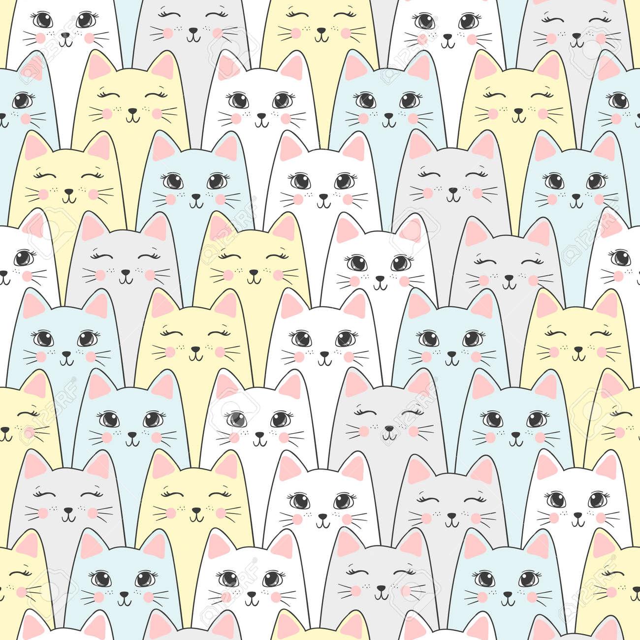 Patrón De Gatos Sin Costura. Fondo De Vector. Ilustraciones ...