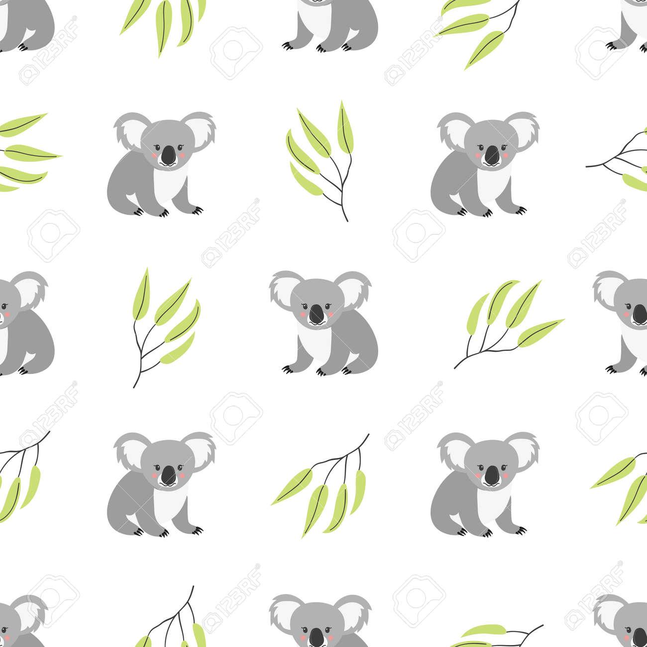 Patrón Sin Fisuras Con Lindos Osos Koala. Fondo De Vector ...