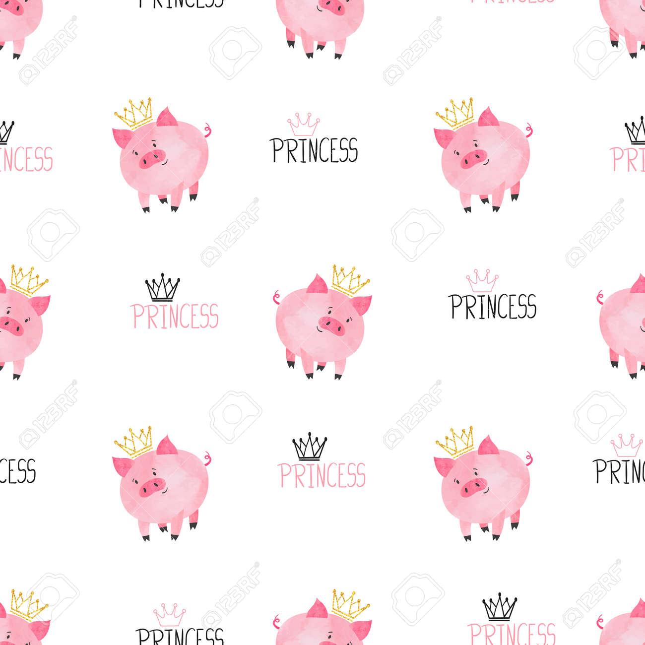 Patrón De Cerdo Princesa Linda Sin Costuras. Vector De Fondo ...