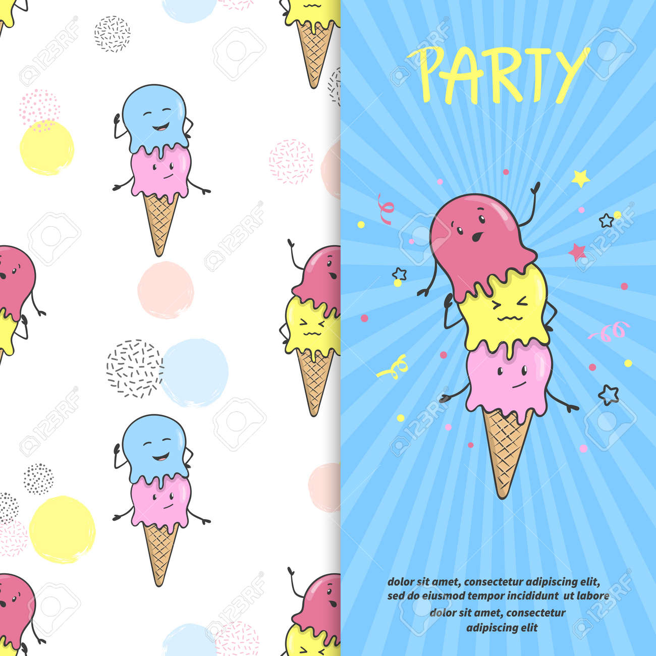 Ice Cream Party Invitation Or Poster Template Vector Cartoon