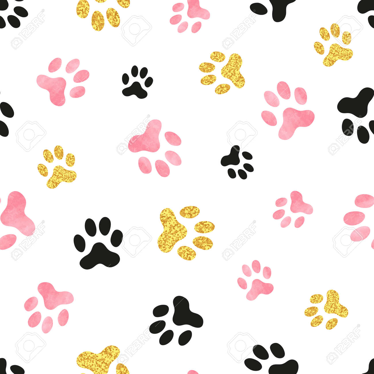 Dog paw print seamless pattern in pink black and golden colors