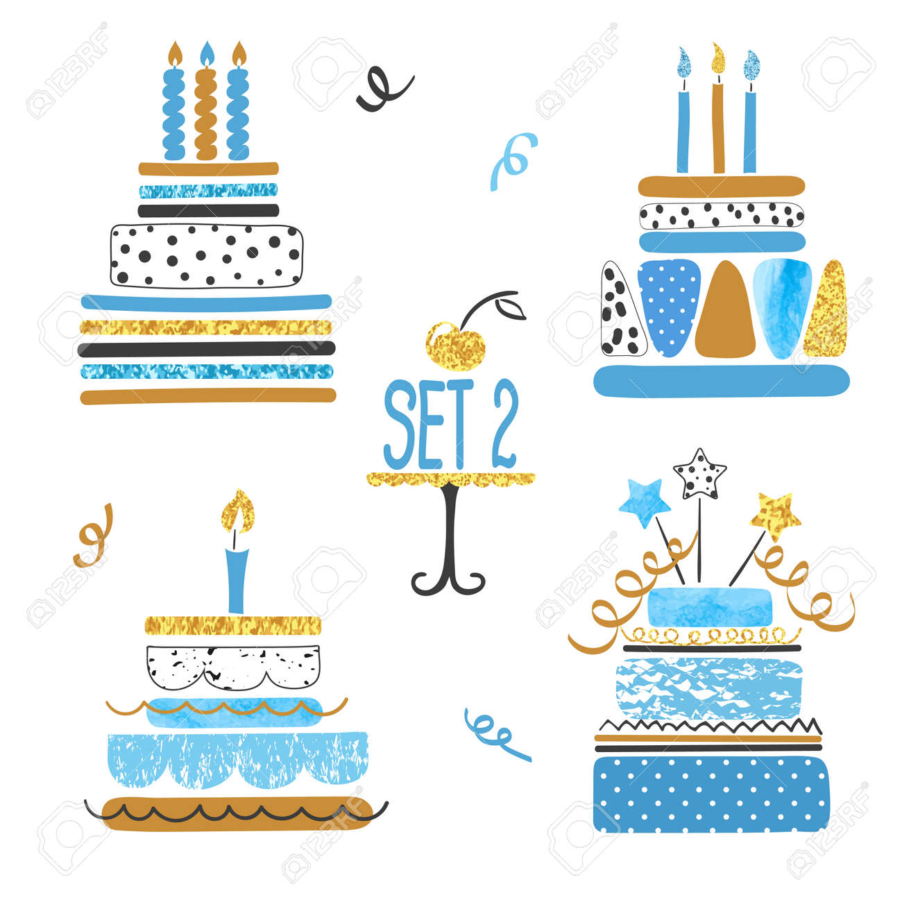 Set Of Watercolor Birthday Cakes In Blue Golden And Black Colors