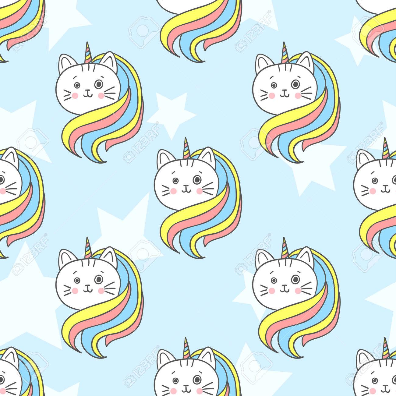 Cute Rainbow Cat Unicorn Seamless Pattern Vector Background