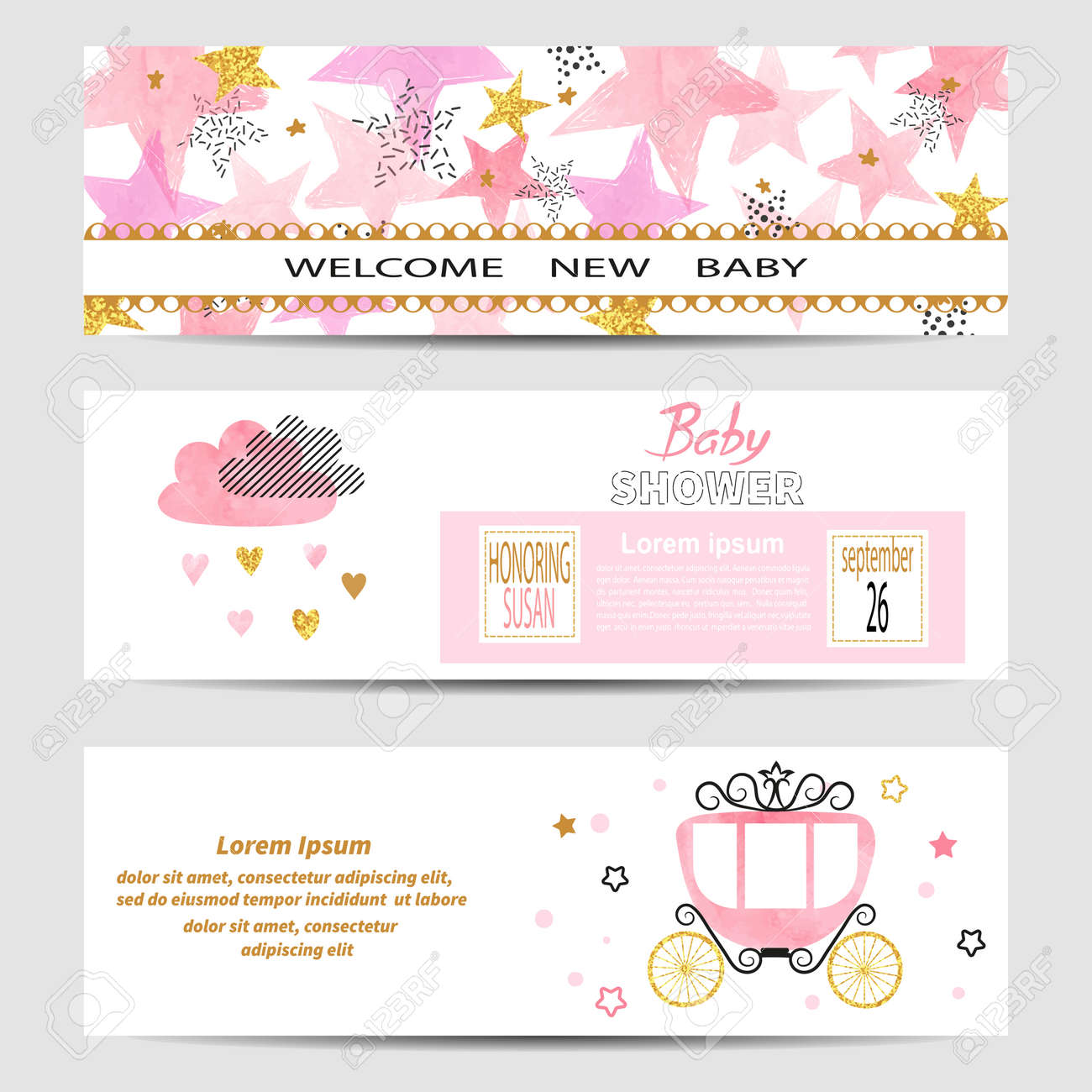 baby shower girl banners vector set in pink and golden colors