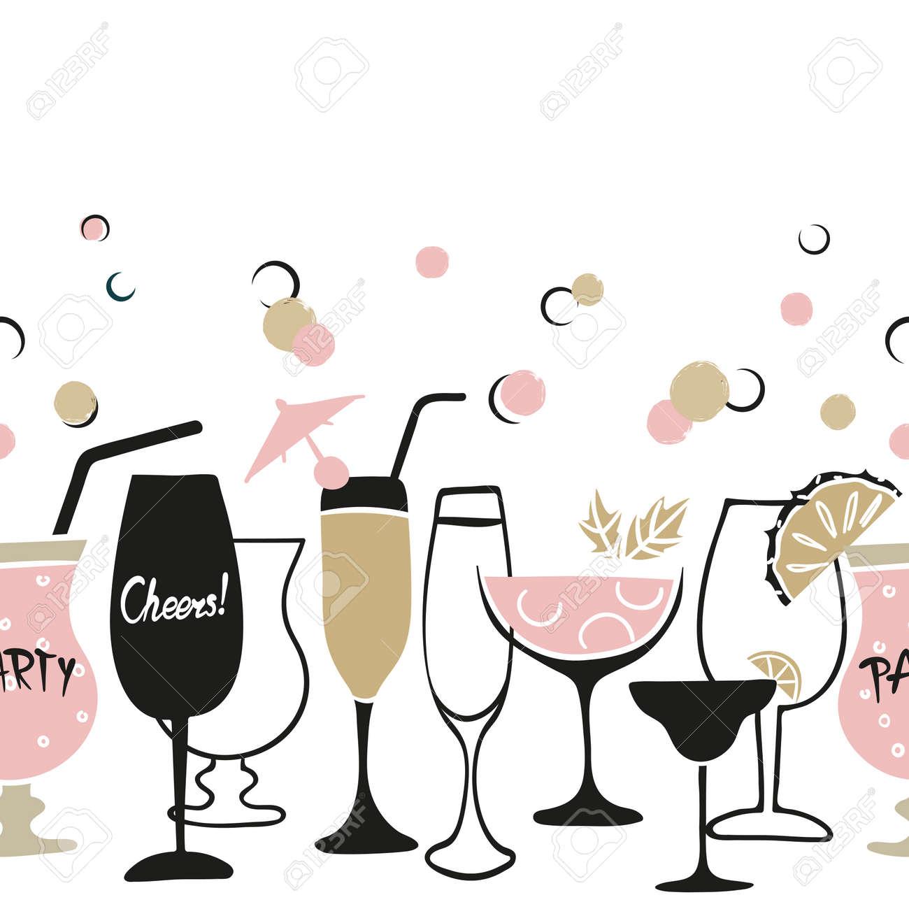 Cocktail Party Invitation Or Wine Menu Design Vector Border
