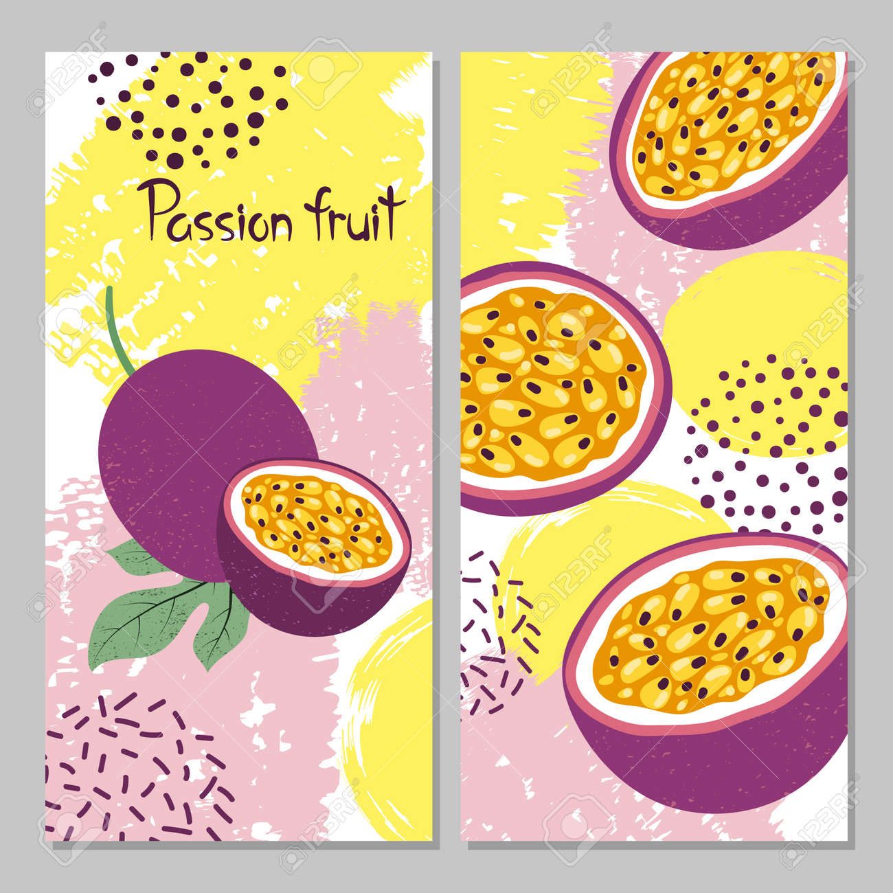 Passion fruit vector illustration. Bright summer print. - 116862330