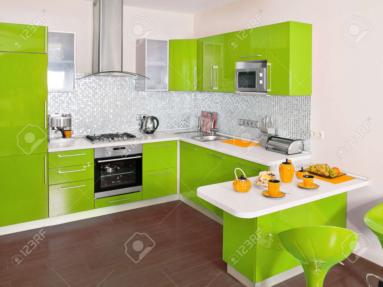 Modern Kitchen Interior With Green Decoration Stock Photo, Picture ...
