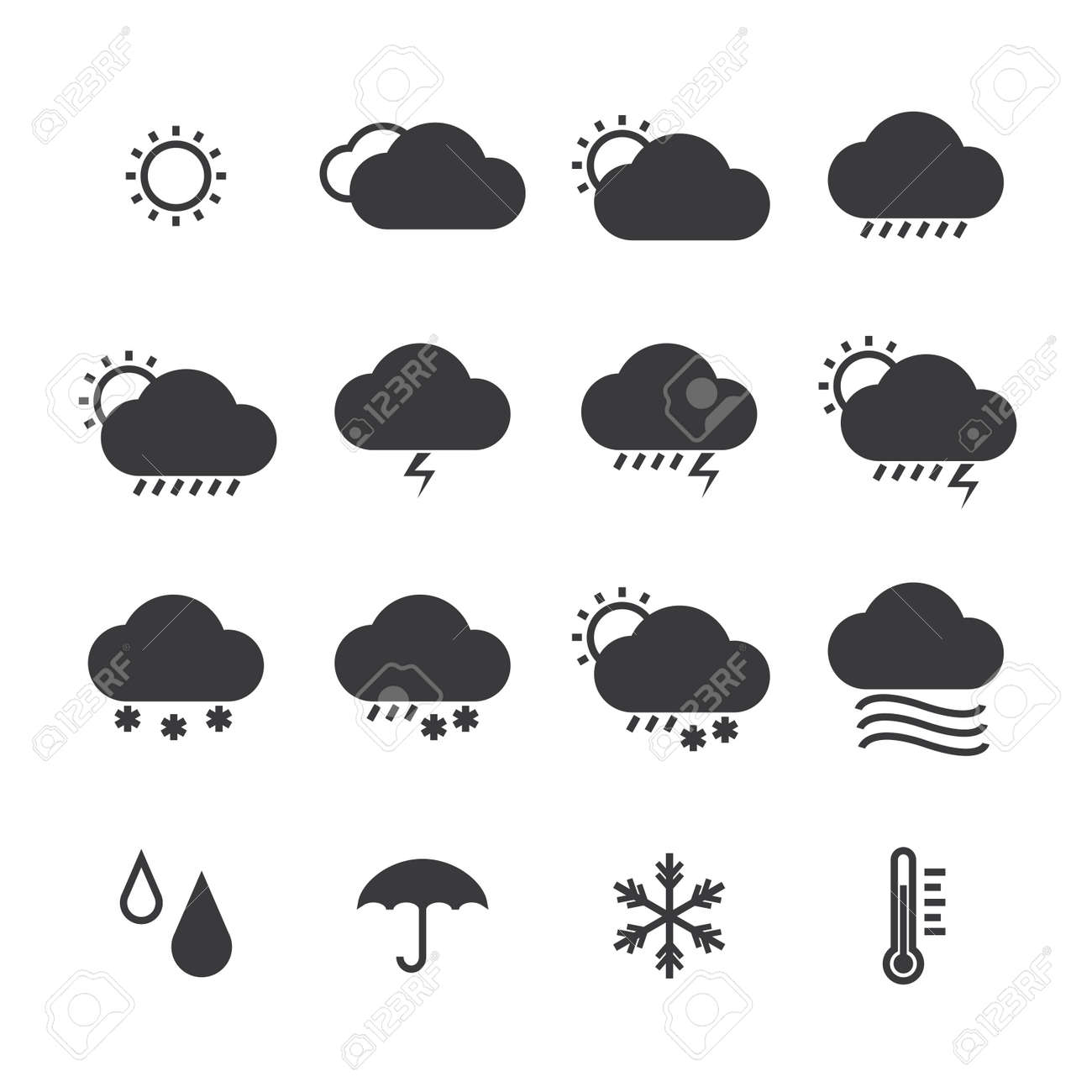 icon pack weather isolated background - 21759715