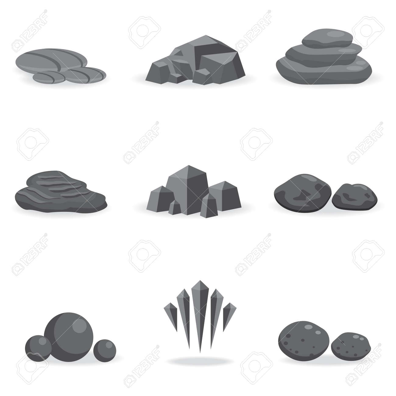 set stone, rock and pebble element decor isolated for game art architecture design - 52329259