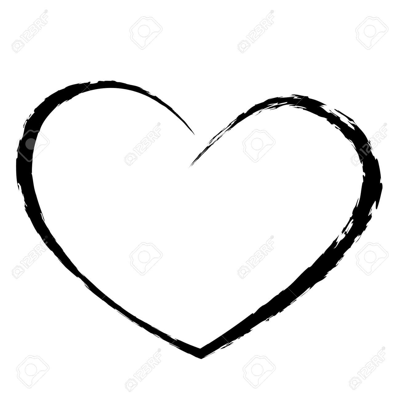 black heart drawing love valentine - 52329916