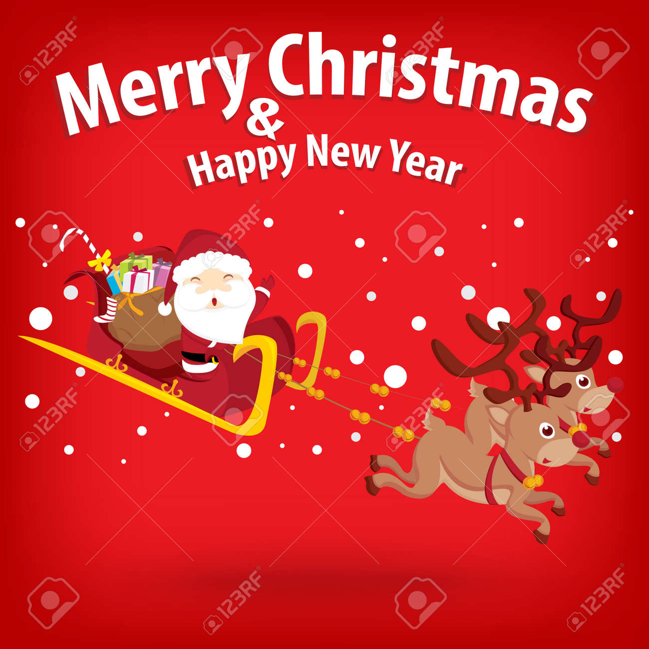 santa claus and snow theme merry christmas and happy new year on background stock vector