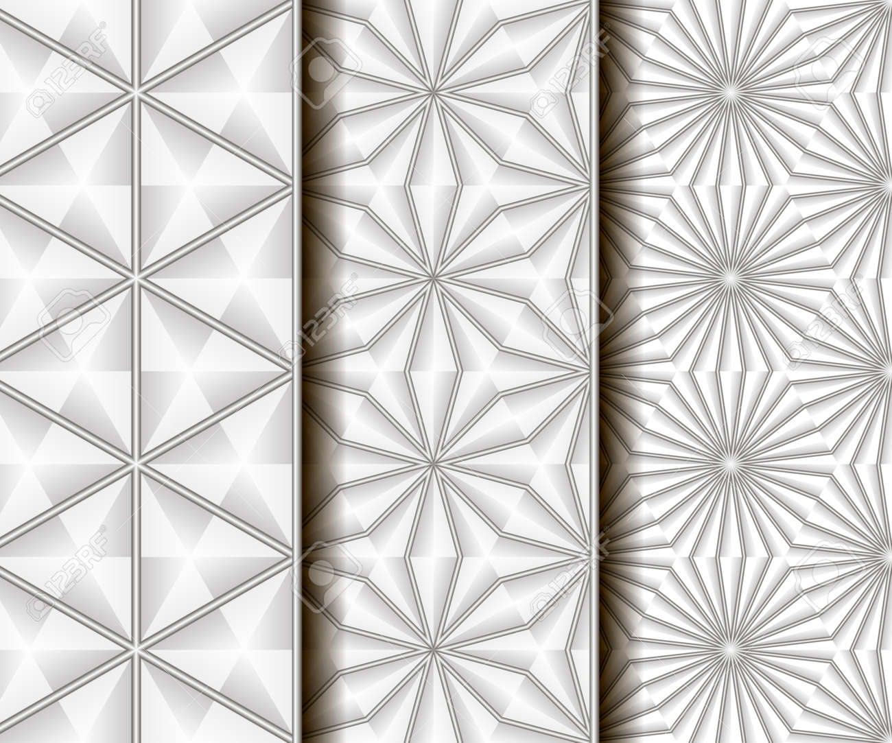 3 Different Vector Seamless Patterns. 3D Wire Geometry. Endless ...