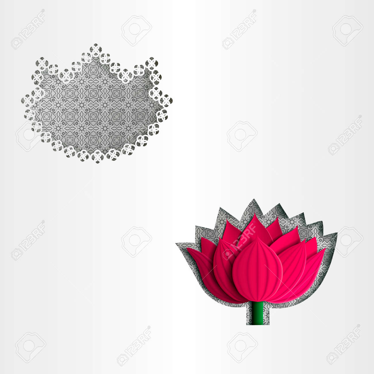 Paper white greeting card lotus flower template greeting paper white greeting card lotus flower template greeting 3d vector eps10 stock mightylinksfo