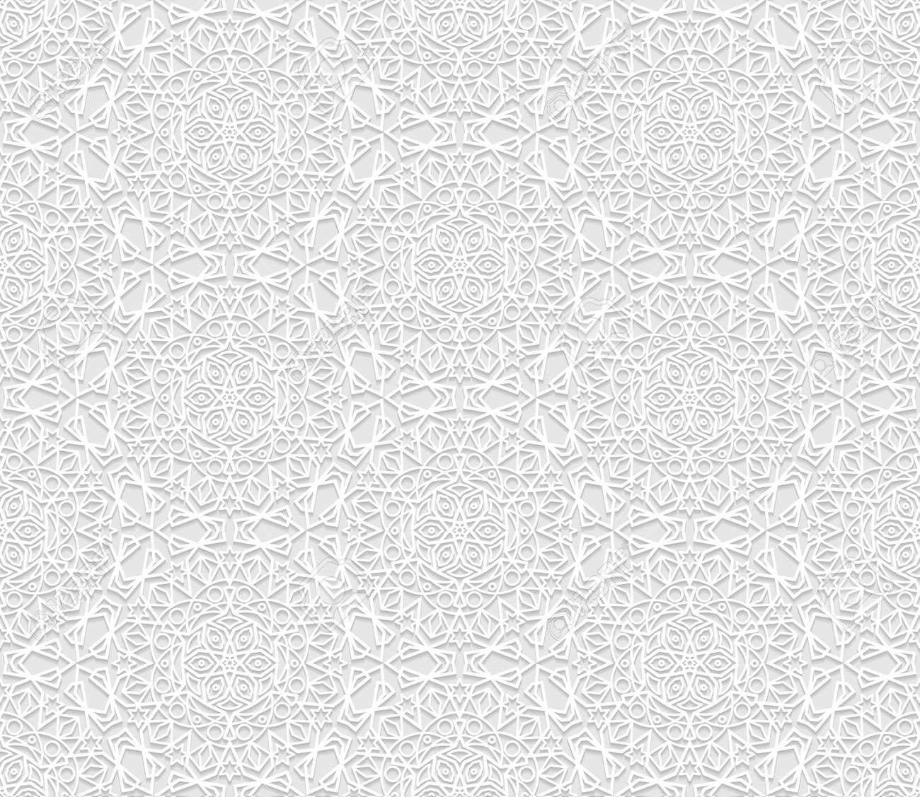 Nahtlose Weiß 3d Muster Arabische Motiv Ost Ornament Indische