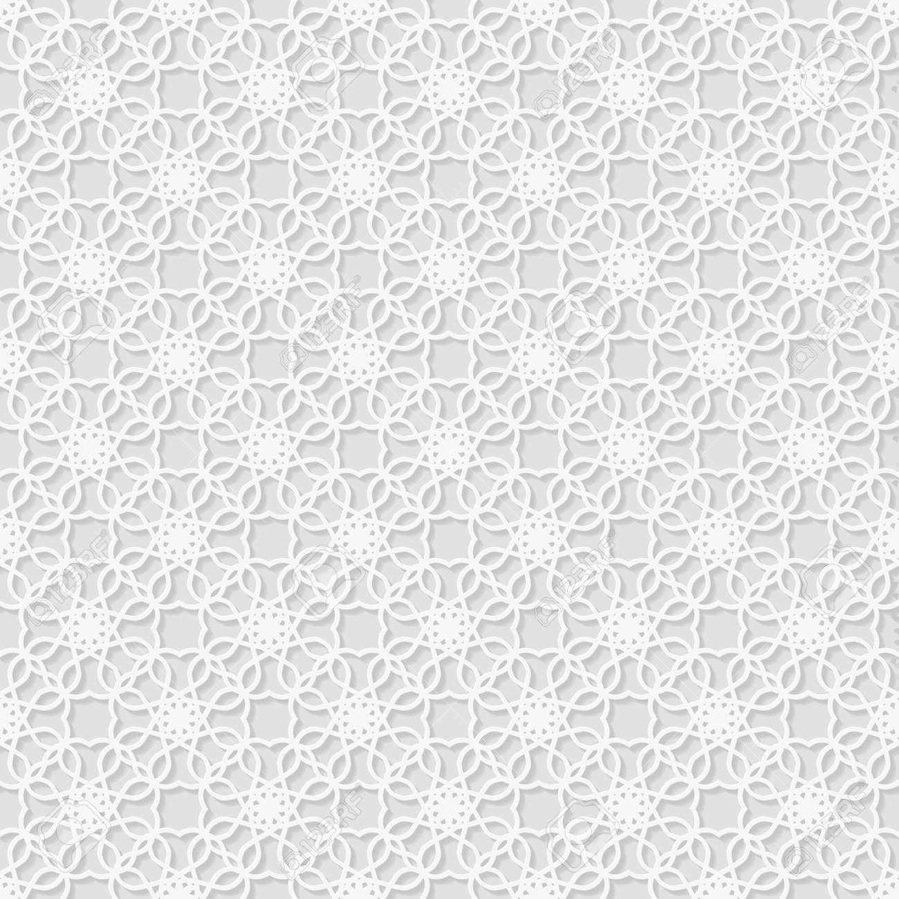 Super Nahtlose Weiß 3D-Muster, Osten Ornament, Indische Verzierung IN96