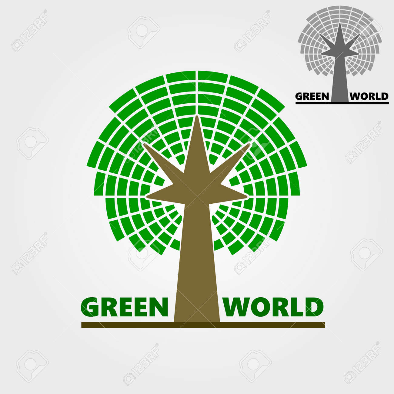 Flat Logo, Business Logo, Eco-logo, Symbol - Tree, Color Green ...