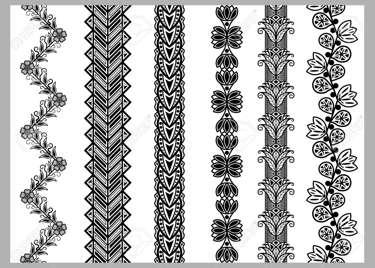 Indian Henna Border Decoration Elements Patterns In Black And