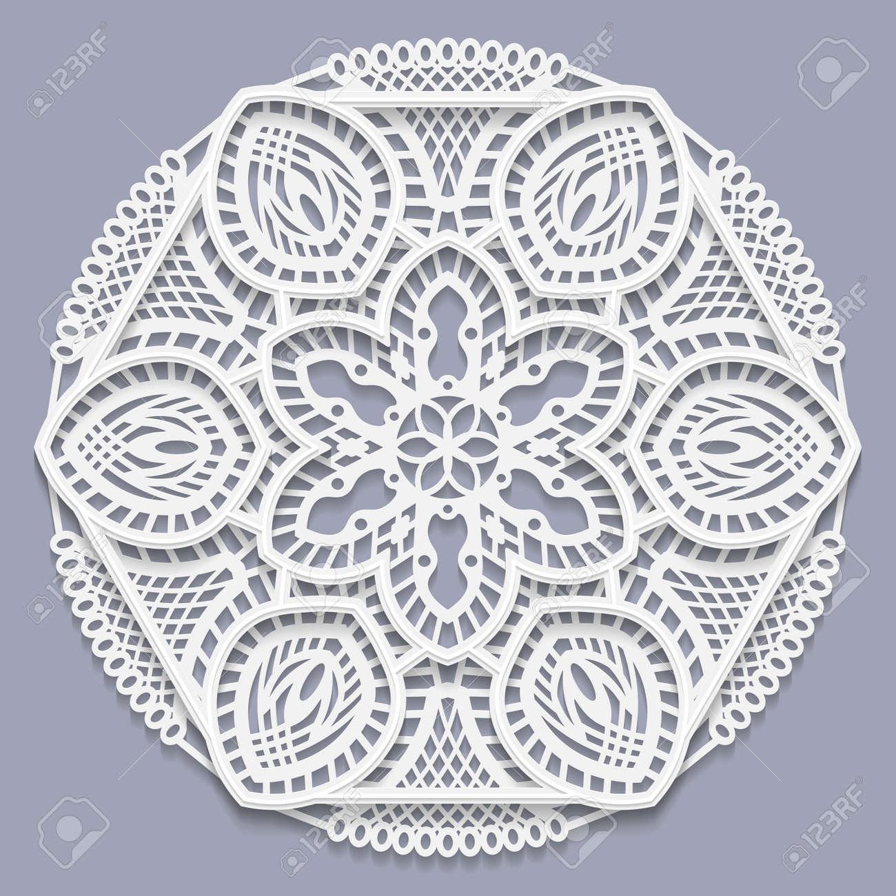 Mandala De Encaje En 3D, Flor Decorativa, Tapete De Encaje, Copo De ...