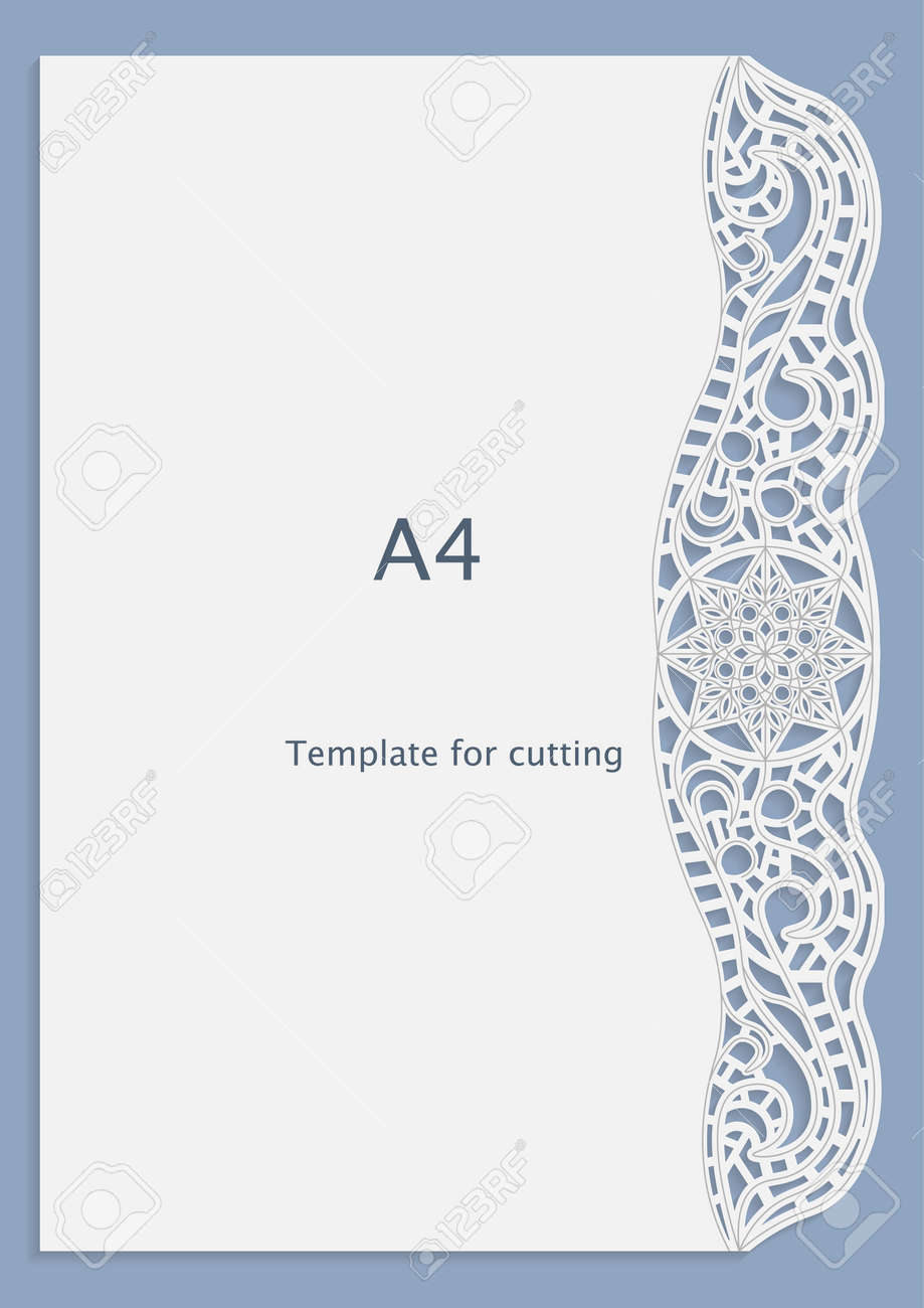 A4 Paper Lace Greeting Card, White Pattern, Cut-out Template ...
