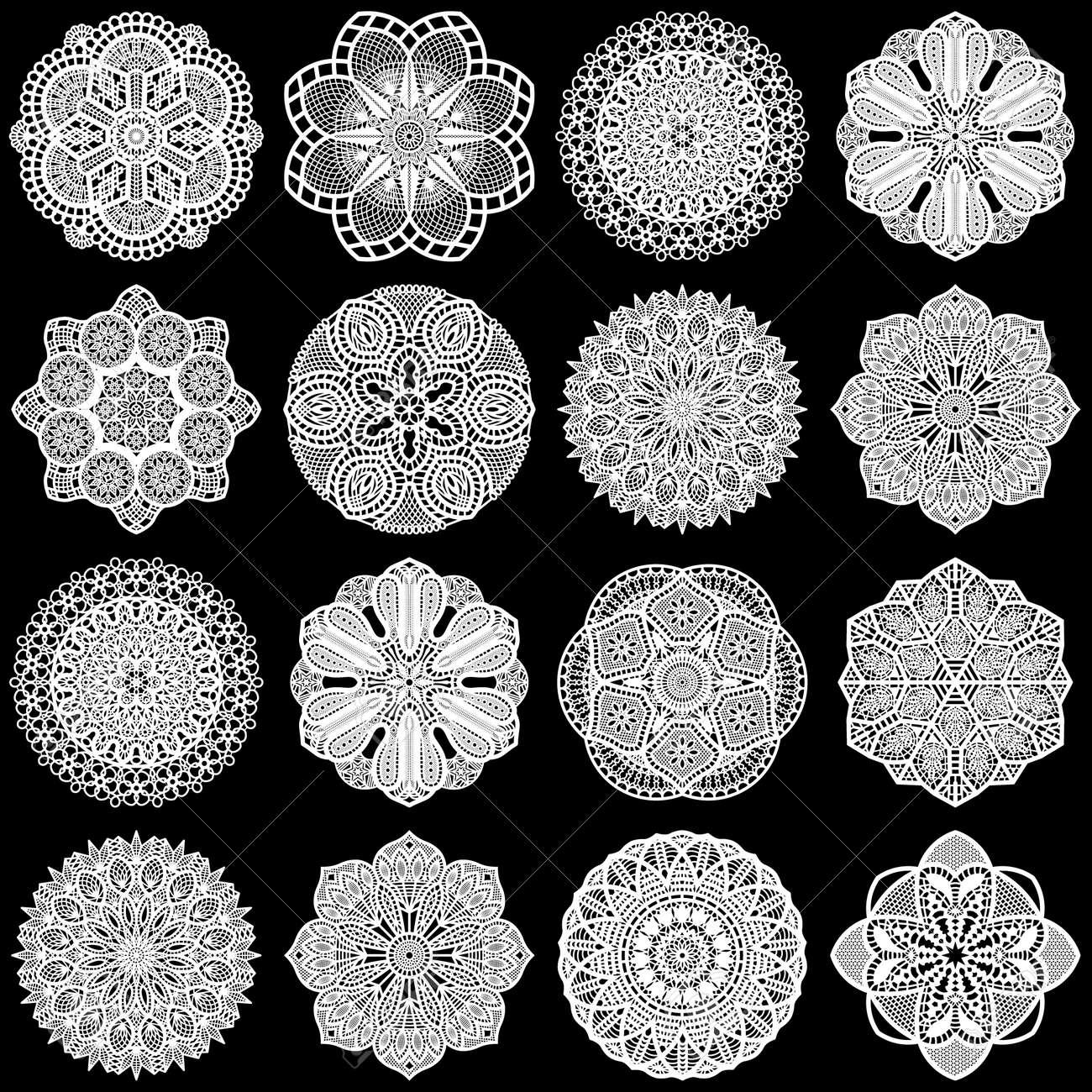 Large Set Of Design Elements, Lace Round Paper Doily, Doily ...